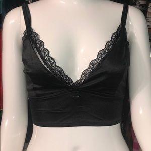 Black satin & lace iheartraves bralette, size XL